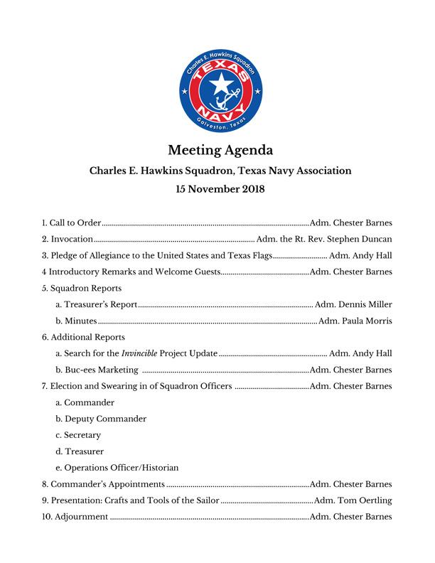 Hawkins Agenda 15 Nov 2018