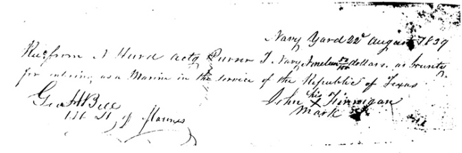 Finnigan Pay Receipt 22 August 1839